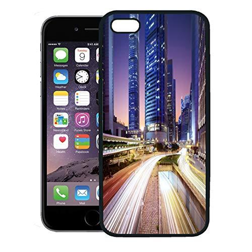 Semtomn Phone Case for iPhone 8 Plus case,Car Hong Kong Bussines Center at Sunrise Park Building Light City iPhone 7 Plus case Cover,Black