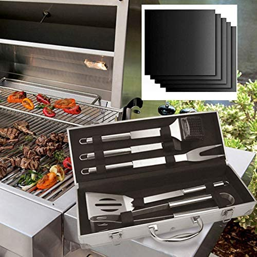 Anyi Outdoor barbecue tools-stainless steel barbecue outdoor bbq barbecue tool combination-5 sets + 5 special barbecue mats-aluminum box packaging