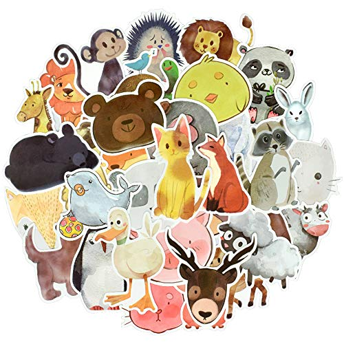 QTL Watercolor Animal Vinyl Stickers Bomb Laptop Water Bottle Folders Toys for Kids(50Pcs/Pack)