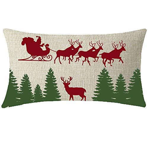 NIDITW Nice Kids Let It Snow Santa Claus Reindeer Sleigh Green Christmas Trees Lumbar Cotton Linen Throw Pillowcase Cushion Cover Sofa Home Decorative Rectangle 12x20 Inches (Beige)