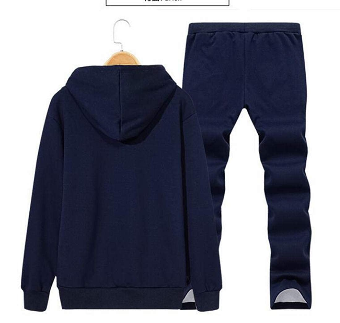 KLJR Men Leisure Hooded Tracksuit Top Sport Baggy Pants Outfit