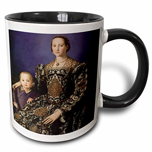 Medici Mug (3dRose mug_169632_4 Eleonora of Toledo with Giovanni de Medici by Agnolo Bronzino - Two Tone Black Mug, 11oz)