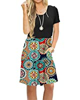 AUSELILY Women's Short Sleeve Pleated Loose Swing Casual Dress with Pockets Knee Length (M, Black Round Red)