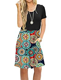 5cb8c2e1bf36 Women's Short Sleeve Pleated Loose Swing Casual Dress with Pockets Knee  Length