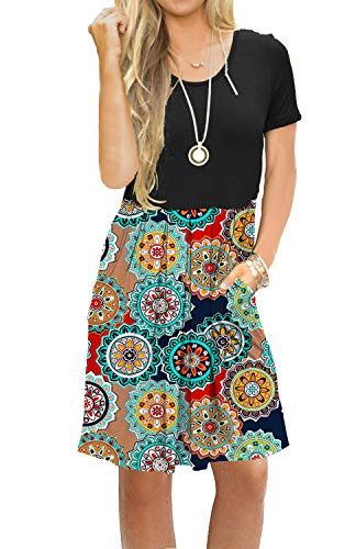 AUSELILY Women's Short Sleeve Pleated Loose Swing Casual Dress with Pockets Knee Length (XL, Black Round ()