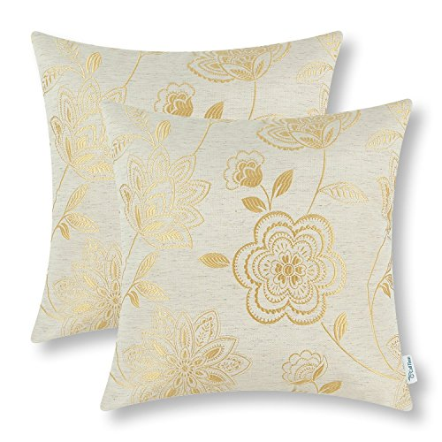 (CaliTime Pack of 2 Cushion Covers Throw Pillow Cases Shells for Couch Sofa Home Decoration Dahlia Floral 18 X 18 inches Gold)