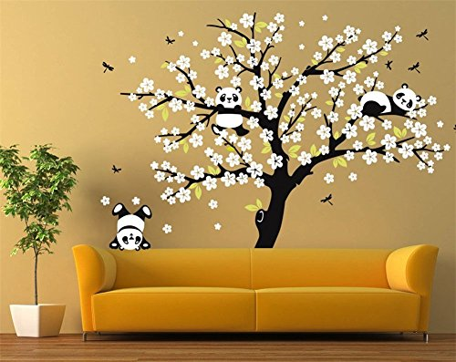 (Huge Removable Vinyl Black Tree White Peach Blossom Flowers Wall Decals Murals DIY Home Art Decor Giant Pandas Plying on Trees Branches Wall Stickers Wallpaper for Living Room Bedroom 86.6x70.9