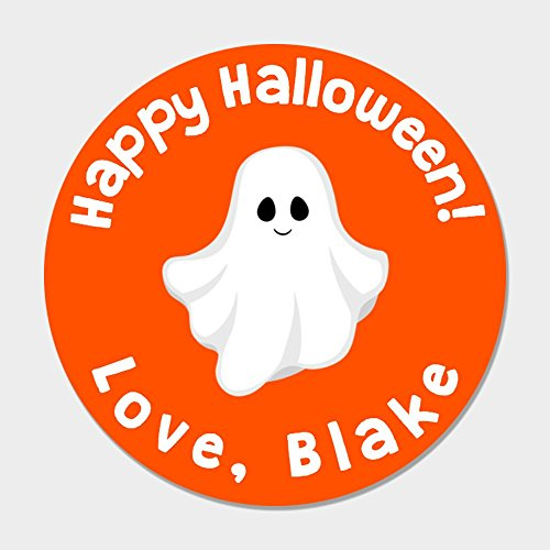 40 Personalized Halloween Favor Stickers - Ghost Halloween Treat Labels]()