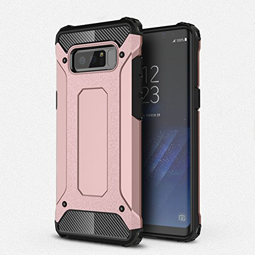 ZARO Samsung Galaxy Note 8 Phone Case 2 in 1 Plastic PC Soft TPU Cover, Silicone Cellphone Cases Protective Dust Proof Spiderweb Anti-Knock Rubber Armor Full Edge Textured Non-slip Covers-Rose Gold