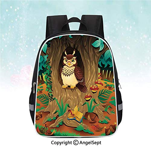 - Travel Backpack,Old Wise Nanny Grandma Owl in the Chestnut Tree Hallow Looking Through Sage Character Print,13