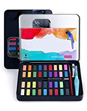 Watercolor Paint, 36 Colors Watercolor Paint Set, Box of Watercolors, Combine with Charcoal Pencil, Watercolor Brush and Watercolor Papers for Artists, Beginners and Kids