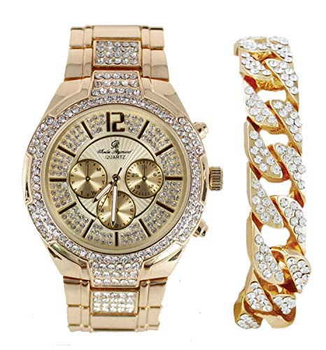 Bold & Powerful Hip Hop Bling! Iced Out Bling Mens Watch w/Ice on Dial and Chrono Look Faux Eyes richly Matched w/Bling Cuban Design Bracelet - 8706B (Gold) (Watch Ice)