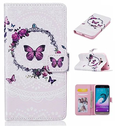 J310 Case,[Butterfly Garland] Luxury Wallet PU Leather Folio Wallet Flip Case [Kickstand Feature] Built-in Card Slots Cover for Samsung Galaxy J310 J3(2016) (Leather Garland)