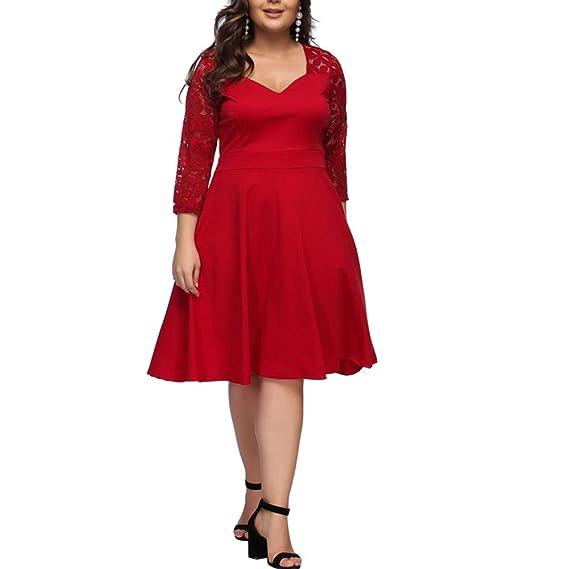 Lover Beauty Damen Maxikleid Große Größen Kleid V Ausschnitt Halbarm Lange Abendkleid Übergröße Spitze Partykleider Cocktailkleider Langarm Midikleid