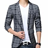 Men's Blazer Jacket Plaid Slim Fit Sport Coat One Button Notch Lapel Casual Business Coat Single Breasted Outwear
