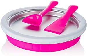 Magik Non-electronic Instant Ice Cream Maker Plate Fried Icecream Ice Roll Pan Machine Frozen Yogurt (Pink)