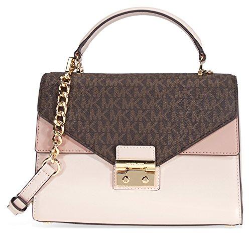 Logo Soft Leather - Michael Kors Sloan Medium Leather and Logo Satchel- Brown/Soft Pink