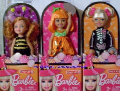Barbie 2011 Target Exclusive Chelsea Halloween Doll Set of Three - Skeleton Pumpkin Honey Bee -