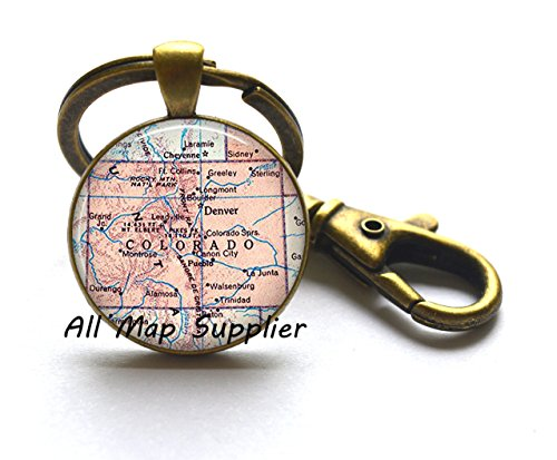 Charming Keychain,Colorado map Key Ring, Colorado Keychain Colorado state map Key Ring map jewelry map Keychain Rocky Mountains,A0157 (Colorado Map Jewelry)