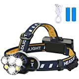 Rechargeable headlamp,Elmchee 6 LED 8 Modes 18650 USB Rechargeable Waterproof Flashlight Head Lights for Camping, Hiking…