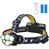 Rechargeable headlamp,Elmchee 6 LED 8 Modes 18650 USB Rechargeable Waterproof Flashlight Head Lights for Camping, Hiking, Out
