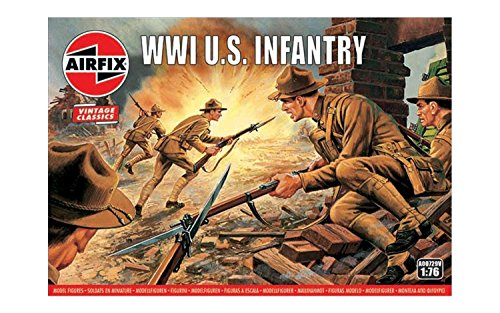 Airfix Vintage Classics WWI US Infantry Figures 1:76 Military Soldiers Plastic Model Kit A00729V