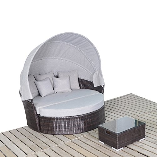 ESports Outdoor Wicker Rattan Daybed with Retractable Can...