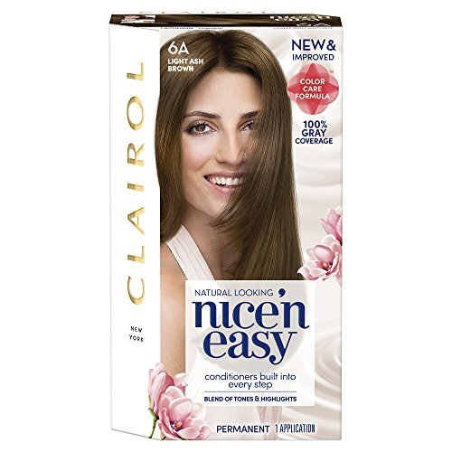 Clairol Nice 'n Easy, 6A/114 Natural Light Ash Brown, Permanent Hair Color, 1 Kit (Pack of 3) (Packaging may vary) (Ash Browns Lock)