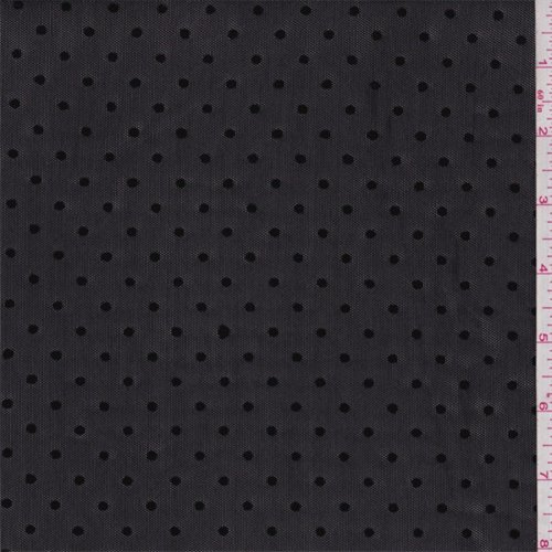 Black Flocked Dot Stretch Mesh, Fabric By the - Material Black Mesh