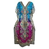 Mogul Interior Women's Caftan Maxi Dresses Printed Blue Resort Wear One Size