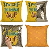 Bad Bananas Dwight, You Ignorant Sl. Reversible Flip Sequin Throw Pillowcase - Funny Gag Gift Pillow Cover