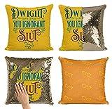 Bad Bananas Dwight, You Ignorant Sl. Reversible Flip Sequin Throw Pillowcase - Funny Gag Gift Pillow Cover