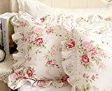FADFAY Shabby Pink Rose Floral Print Pillow Shams Elegant Country Style Vintage Ruffles Bedding Pillow Covers Standared Size 19'' x 29''