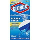 Clorox Automatic Toilet Bowl Cleaner Tablets, Bleach & Blue - Rain Clean - 4 Count