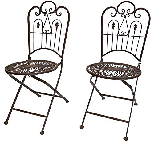 (PierSurplus Provence Metal Folding Garden Bistro Chairs - Warm Brown, Set of Two Product SKU: PF223542)