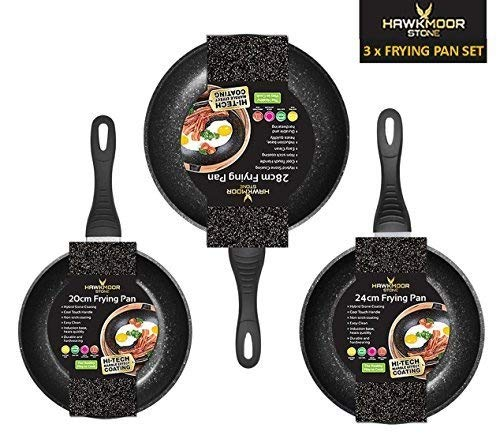 20 24 28cm Three Pack Stone Frying Pan Non-Stick Durable Induction & Normal Hobs Hawkmoor