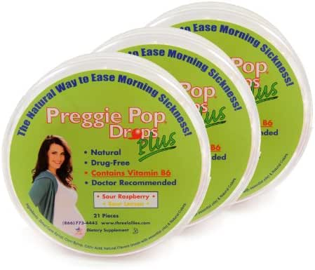Three Lollies Preggie Pop Drops Plus | Contains Vitamin B6 for Morning Sickness Relief | Sour Raspberry | Sour Lemon | 3 Containers | 21 Drops Per Container