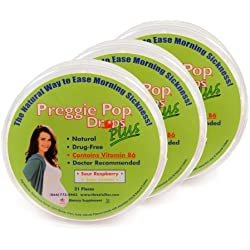Three Lollies Preggie Pop Drops PLUS with B6 for Morning Sickness Relief, 3 Count