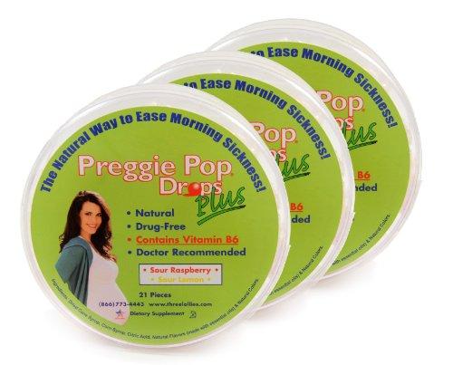 Three Lollies Preggie Pop Drops Plus | Contains Vitamin B6 for Morning Sickness Relief | Sour Raspberry | Sour Lemon | 3 Containers | 21 Drops Per Container (Lollipops Vitamin B6)