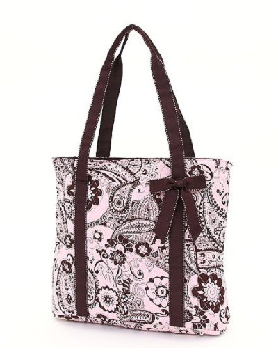Belvah Large Quilted Floral Paisley Tote Handbag with Detachable Ribbon (Pink/Brown), Bags Central