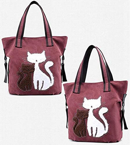 Gatito niña de coffee Mujer zhou® para de Blanco diseño Bolso li Purple Mujer única Talla Xue Lona zRAUSxqw