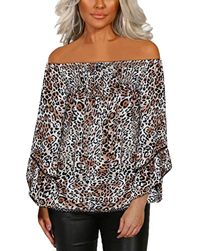 YOINS Women Tops Blouse Leopard Cold Shoulder Long Bell Flared Sleeves Flouncy Tops C-Picture02 XL (Snake Bell)