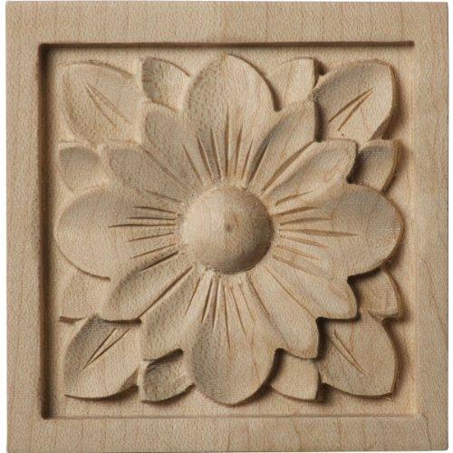 Ekena Millwork ROS03X03X00DGAL Small Dogwood Flower Rosette, 3-Inch x 3-Inch x 5/8-Inch, Alder ()