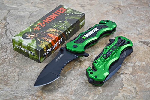 Z Hunter Apocalypse Green Zombie Knife Zomber Hunter Survival Tatical Camping Hunting (Hunter Hunting Knife)