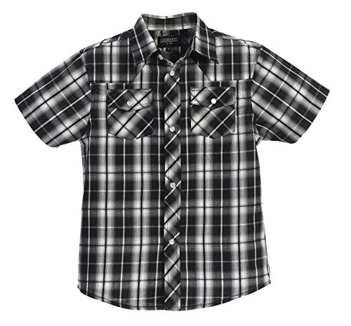 Gioberti Boys Casual Western Plaid Pearl Snap-on Buttons Short Sleeve Shirt, Black/White : Size 10