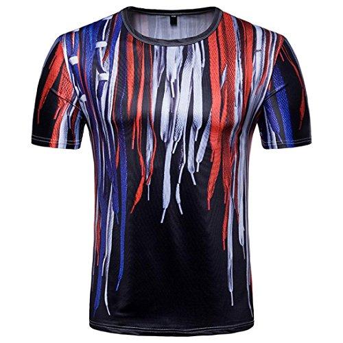 mit Crew T Print Oberteile Neck 3D Sweatshirt Rundhalsausschnitt Shirt Schnürsenkel Kurzarm T Shirt Drucken Bluse Herren T Sommer Herren Shirt Red Shirt und Longra xn4wzPq
