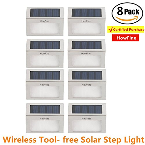 [Pack of 8] HowFine Outdoor Stainless Steel LED Solar Step Light Wireless Super Bright Modern White Lamp for Deck, Staircase, Walkway, Patio, Garden, Yard, (Stainless Led)