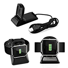 Oct17 Fitbit Blaze Charger and Phone Stand Charging Station Dock Cradle Holder Clip Premium Plastic Bracket Cable Accessories for Fitbit Blaze-Black