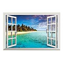 SODIAL(R) 3D Ocean Nature Sea View Mural Window Home Decor Sticker Room picture poster art