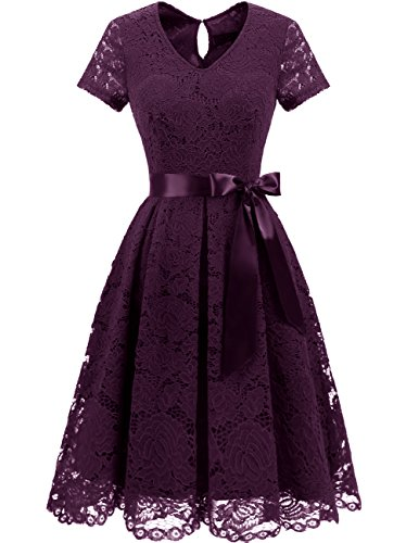 - DRESSTELLS Women's Elegant Bridesmaid Dress Floral Lace Party Swing Dresses with Short Sleeves Grape S